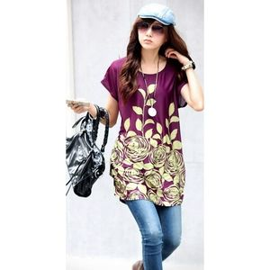 Purple and Yellow Roses Blouse